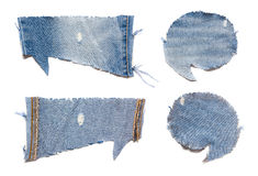 Speech bubble blue jeans texture Royalty Free Stock Photos