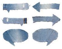 Speech bubble blue jeans texture Royalty Free Stock Photos