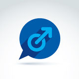 Speech bubble with a blue male sign, man gender symbol. Gay club. Conceptual icon – chat on a relationship theme Stock Photos