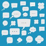 Speech bubble box icons set on color background Stock Photos