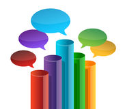Speech bubble business graph. Illustration design over white Royalty Free Stock Photos