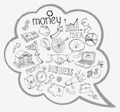 Speech bubble with business and money icons. Speech bubble with business and money infographic icons depicting  investment  savings  success  analytics  targets Royalty Free Stock Photos