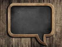 Speech bubble chalkboard or blackboard on old wood background. Speech bubble chalkboard or blackboard on old wood Royalty Free Stock Image