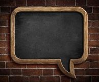 Speech bubble chalkboard on brick wall Stock Photos