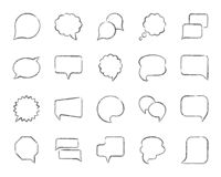Speech Bubble charcoal draw line icons vector set. Speech bubble charcoal icon set. Grunge outline web sign kit of comic tell. Chat linear icons includes speak royalty free illustration