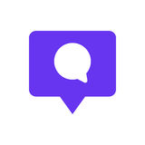 Speech bubble chat icon with pin mark. Comment symbol Stock Photos