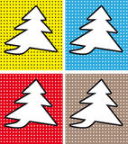 Speech Bubble Christmas Tree in Pop-Art Style. On dot background set Stock Photo