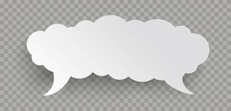 Speech Bubble Cloud Banner Transparent. Speech bubble cloud on the checked background stock illustration