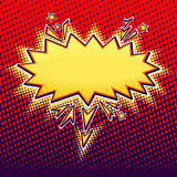 Speech bubble or cloud in pop art cartoon style gold on red. Speech bubble or cloud in pop art cartoon comic retro style with halftone bright in  gold on red Royalty Free Stock Photography
