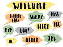 Speech bubble colorful set isolated. Handwritten words. Most common used words and phrases for Internet communication,vector illustration Royalty Free Stock Photos