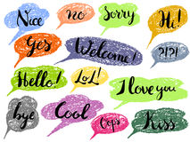 Speech bubble colorful set. Isolated. Most common used words and phrases for Internet communication, illustration Royalty Free Stock Photography