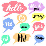 Speech bubble colorful set. Isolated. Most common used words and phrases for Internet communication, illustration Stock Images