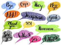 Speech bubble colorful set. Most common used words and phrases for Internet communication, illustration Stock Photography