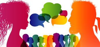 Free Speech Bubble. Crowd Talking. Dialogue Group Of Diverse People. Communication Between People. Silhouette Profiles. Rainbow Colours Stock Photos - 160629733