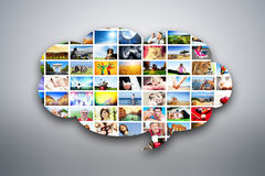 Speech bubble design element made of pictures of people, animals and places stock illustration
