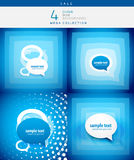 Speech bubble design set. 3d speech bubble design set on blue background Stock Photo