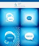 Speech bubble design set. 3d speech bubble design set on blue background royalty free illustration