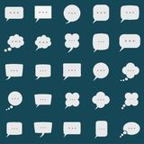 Speech bubble box icons set on color background Stock Photography