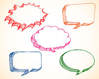 Speech Bubble Doodle. Set of colorful speech/dialog bubble doodle/sketch stock illustration