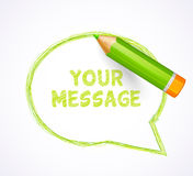 Speech bubble drawn with highly detailed green pencil Royalty Free Stock Image