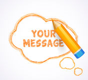 Speech bubble drawn with highly detailed orange pencil Stock Photography