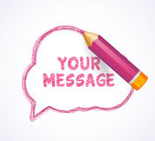 Speech bubble drawn with highly detailed purple pencil Stock Images