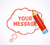 Speech bubble drawn with highly detailed red pencil Royalty Free Stock Photos
