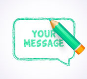 Speech bubble drawn with highly detailed turquoise pencil Royalty Free Stock Photography