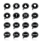 Speech bubble emotion icons - love, like, anger, wtf, lol, ok. Vector icons set of speech bubbles isolated on white Royalty Free Illustration