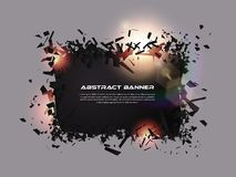 Speech bubble, exploding effect. Abstract explosion black pieces with lens flare. Explosive destruction. Particles on dark banner. Background. Vector Stock Photography