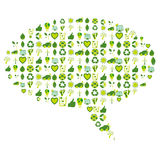 Speech bubble filled with bio eco environmental related icons an Royalty Free Stock Photography