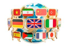 Speech bubble with flags around Earth Globe, 3D rendering. Isolated on white background Stock Images