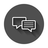 Speech bubble flat vector icon. Discussion dialog logo illustration. Business pictogram concept on black round background with lo. Ng shadow stock illustration