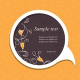 Speech bubble with floral elements Stock Image