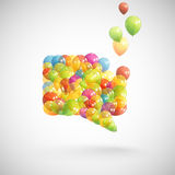 Speech bubble with flying balloons Stock Image