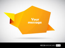Speech bubble from folded orange paper. Royalty Free Stock Photos