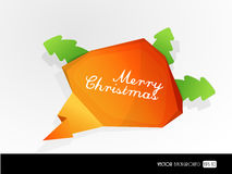 Speech bubble from folded orange paper. Royalty Free Stock Photo