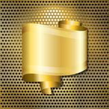 Golden speech bubble. A speech bubble in the form of a scroll of gold ribbon, with space for your text, over a back-lit golden grille Royalty Free Stock Image