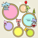 Speech bubble or frame with cute bears Stock Photography