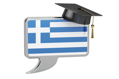 Speech bubble with Greek flag, learning concept. 3D rendering Royalty Free Stock Images