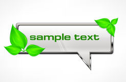 Speech bubble with green leaves Stock Images