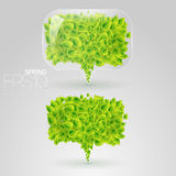 Speech bubble of green leaves Royalty Free Stock Photos