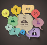 Speech bubble group with business icons Royalty Free Stock Image