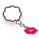 Speech bubble, halfton, female lips. Comic speech bubble with halfton effect, female lips. Bright dynamic cartoon illustration isolated on white Royalty Free Stock Photography