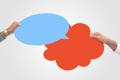 Speech bubble in hand. & bubble collage Stock Photography