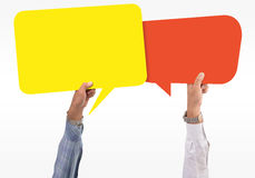 Speech bubble in hand Royalty Free Stock Images