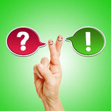 Speech bubble on hands as communication symbol Royalty Free Stock Photo