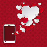 Speech Bubble Hearts Smartphone Ornaments Royalty Free Stock Photo