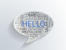 Speech bubble with Hello in different languages Royalty Free Stock Photo