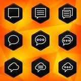 Speech bubble. Hexagonal icons set on abstract ora Royalty Free Stock Photo